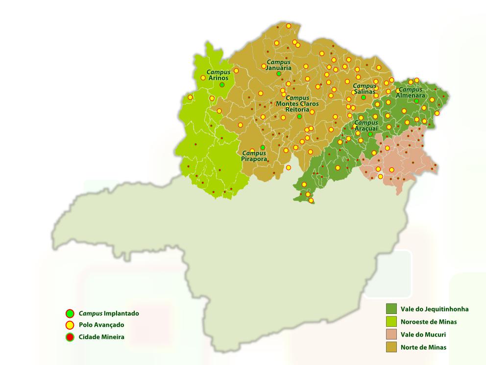 Mapa de abrangência do EAD-IFNMG